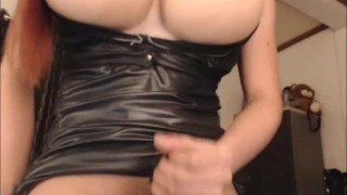 Shemale with Huge Titties Stripteases and Masturbates screenshot 5